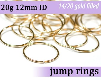 20g 12mm ID gold filled jump rings -- 20g12.00 goldfill jumprings 14k goldfilled