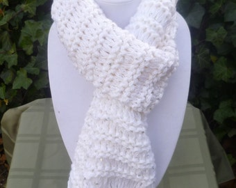 Hand Knit Extra Long Scarf- Hand Knit Scarf - Hand Knit White Scarf- Hand knit Sequin Scarf - scarve