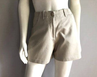 Vintage Women's 90's Beige Shorts, High Waisted by CBNY (M)
