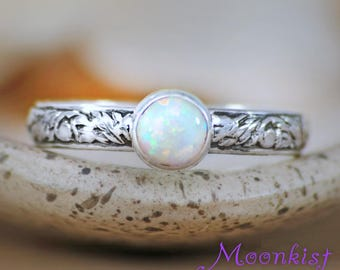 Opal Engagement Ring - Opal Promise Ring - Bezel Set Opal Ring - Sterling Silver Floral Promise Ring - Nature-Inspired Wedding Ring