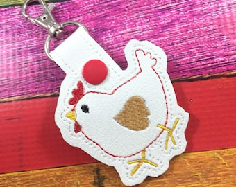 Chicken or Hen keyfob - novelty keychain gifts -best gifts for her - rodeo stock show ffa chicken lady keyring chicken design
