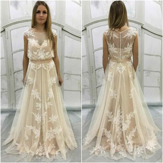 Boho a-Linie Vintage inspiriert voll Spitze Brautkleid