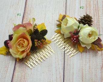 Autumn wedding Rustic hair comb Woodland flower comb Fall flower comb Party hair accessories Photo shoot Flower fascinator Bridal hair comb
