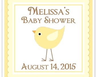 Baby Bird Baby Shower Labels, Baby Shower Stickers, Yellow Bird Square Baby Shower labels,  Custom Labels, Personalized Stickers