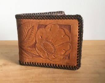 1970s Tooled Leather Wallet, Billfold with California Poppy Design and Whip Stitch Trim