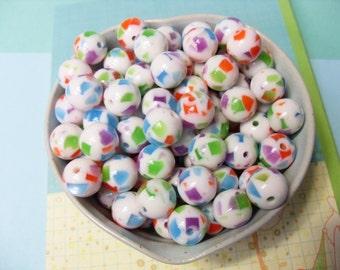 20x 12mm Multicolour Chip Resin Juicy Globe beads