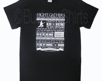 CRICKET Mens T Shirt Tee Top Night's Watchman Oath~Game Of Throws/Thrones Parody