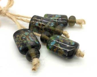 Lampwork beads handmade Beads supplies jewelry Beads for jewelry making Murano beads Set beads Beads SRA Beads  green, blue, tea.