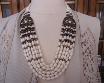 Vintage 6-Strand Off-White Beaded Necklace w/ Antique Brass Accents. Multi Strand Necklace