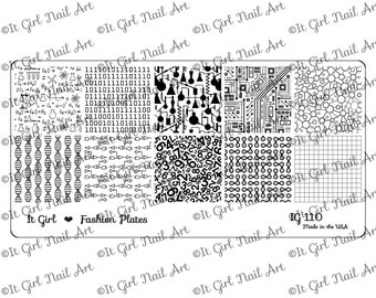 IG110 Nail Art Stamping Plate - STEM, science, technology, engineer, math, number, circuit, DNA, binary