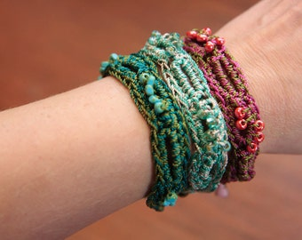 Jewelry Tutorial, Bracelet Crochet Pattern, Beaded Bracelet Pattern, Boho Crochet Pattern  (39)