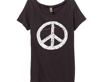 Organic Womens Peace Sign Tshirt - Womens Grunge Peace Sign Shirt - Bamboo - BOHO - 60s - In Small, Medium, Large and XL