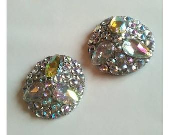 Silver rainbow ab crystal nipple pasties 4cm