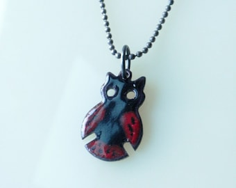 Black and Red Enamel Owl Pendant