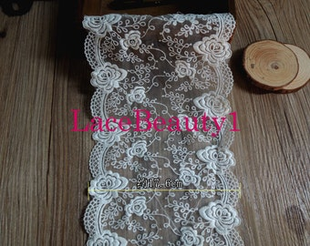 Embroidery cotton lace trim mesh Lace Trim Vintage Lace trim floral lace trim white Lace Trim 17.6cm width 1 yard length