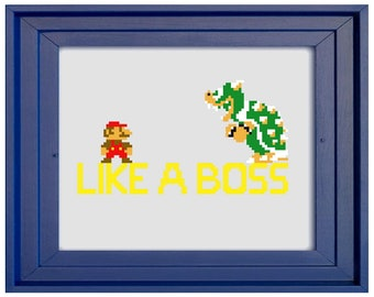 Mario Like A Boss Cross Stitch Pattern