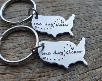 Customizable Set of 2 United States Aluminum Map Key Chain- Long Distance Relationship One Day Closer