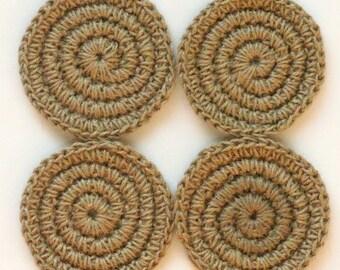 Jute Coasters / Mugs Mat / Cup Mat / Crochet Rustic Coasters a Set of 4 / Ready to ship