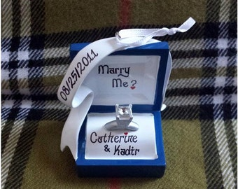 Personalized Engagement/Anniversary/Marriage Proposal Gift - Marry Me, She Said Yes, Engagement Ornament