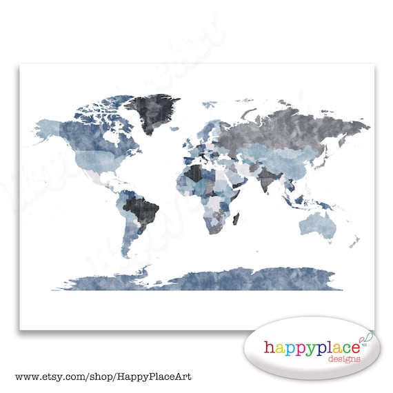 Large grey world map wall art poster with lovely printed gumiabroncs Images