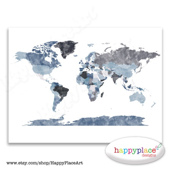 Large grey world map wall art poster with lovely printed gumiabroncs Choice Image