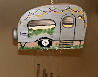 Silver Hand Crafted Wood Travel Trailer Camper Wind Chime Hand Painted-Indoor/Outdoor-Fathers Day-One of a Kind