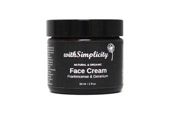 Organic Face Cream with Therapeutic Grade Frankincense and Geranium Essential Oils, Face Moisturizer, 2oz glass jar, Vegan