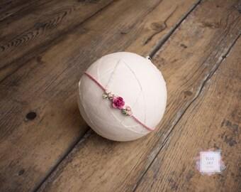 Berry Tieback, Newborn Headband, Embroidery Designed Headband