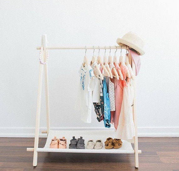 Diy Child Clothes Rack: Mini Children's Clothing Rack Mini Black Dots On White