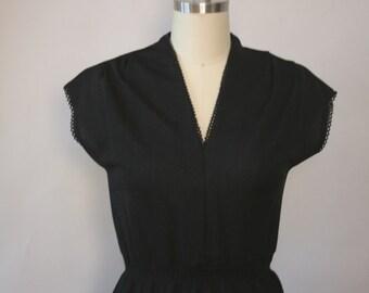 1970s mini bobble trim black dress