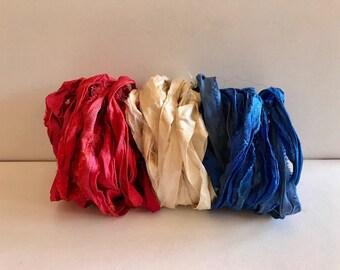 Recycled Sari Silk Ribbon-Red, White & Blue Sari Ribbon-9 Yards