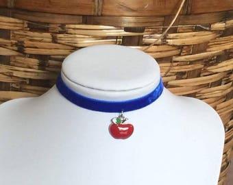 Royal Blue Velvet Choker, Apple Choker, Blue Choker, Unique Choker, Chocker, Choker Necklace, Apple Charm, Fruit Charm