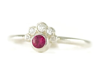 Ruby and Diamond Stack Ring - Semi Halo Birthstone Ring - Sterling Promise Ring