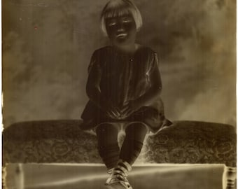 Antique Glass Photo Negative Little Girl Glass Plate Must Invert on Photo Editing To Print - Sample Shown