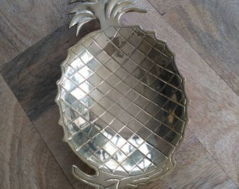 Flat Cup or solid brass tray in the shape of pineapple