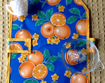 Oranges Oilcloth Waterproof Apron for Children with Hook and Loop Fastener Strap, Kids Aprons, Montessori Inspired