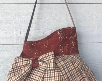 Brown Houndstooth Wool & Rust Cork Polly Concealed Carry Handbag