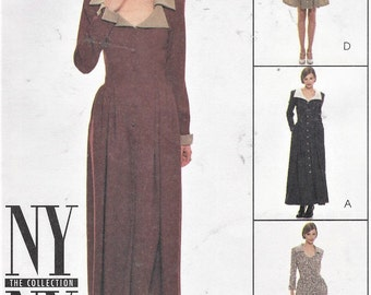 90s Womens Lagenlook Style Dress Maxi or Mini McCalls Sewing Pattern 7827 Size 8 10 12 Bust 31 1/2 to 34 UnCut NY NY the Collection Patterns