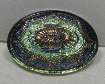 Large Oval Czech Glass Button