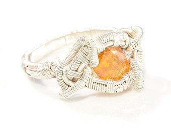 Yellow Sapphire heady Wire Wrap Ring Size 10.5 , Sapphire ring