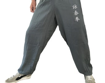 Kung Fu Pants, for Martial Arts, light, smooth, with Wing Chun embroidery, 100% rayon, grey color