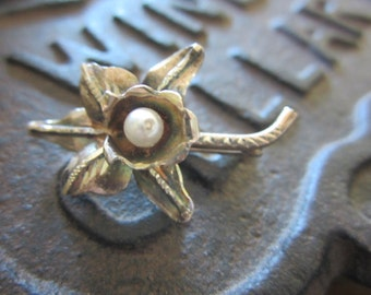 Antique Silver Flower Brooch with Pearl Unusual Design
