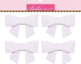 Bella Blvd Color Chaos Bella Bows, Pack of 4 Self-Adhesive Felt Bows - Milk White