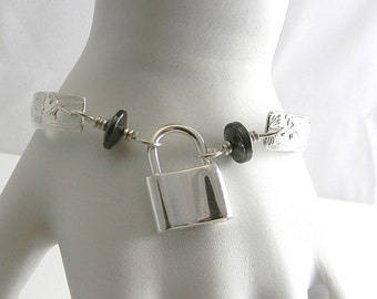 Fleur Deux Sterling Silver and Hematite Slave Cuff with Sterling Silver Mock Padlock Clasp for up to 6.25 Inch Wrist