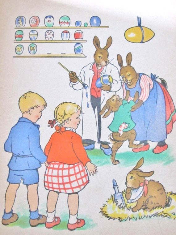 1930s old GERMAN CHILDREN Book, Easter Bunny