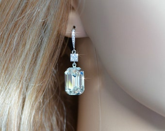 Handmade Swarovski Clear Emerald Cut Crystal & CZ Dangle Bridal Earrings, Bridal, Wedding (Sparkle-2659)