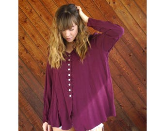 Slouchy Woven V-Neck 90s Blouse Top in Plum - Vintage - M/L