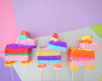 Fiesta Cake Topper, Donkey Cake Topper, Pinata Cake Topper, Fiesta Baby Shower, Fiesta Bridal, Mini Piñatas