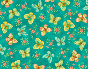All A Flutter - 26360-Q - Butterflies Teal - by Karla Dornacher for Quilting Treasures