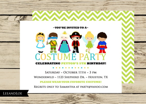 Items similar to Costume Birthday Party Invitation Princess Ninja